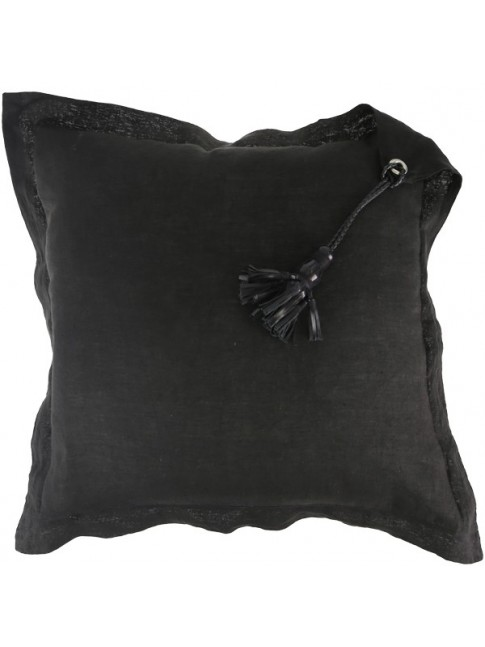 Tassel Cushion Black