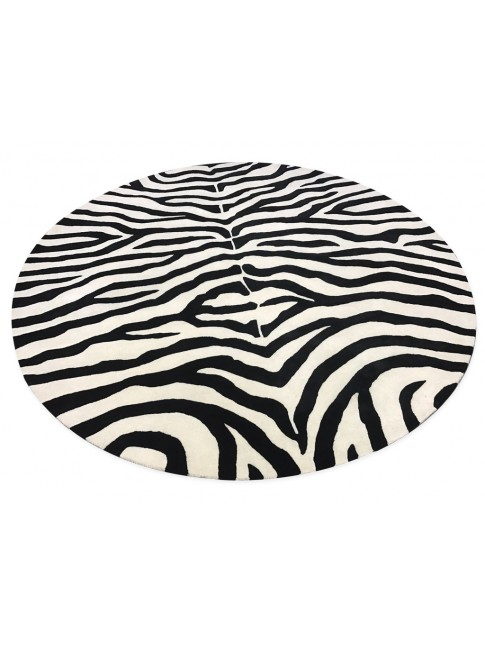Artisan Zebra Round Hand Tufted Wool and Viscose Rug 280x280