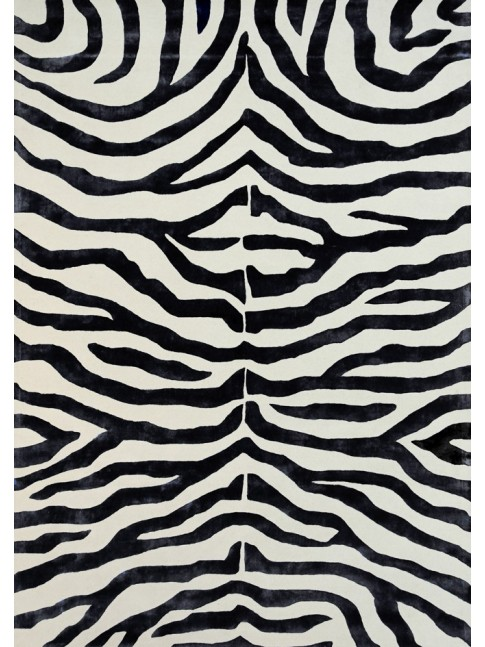 Zebra Black and White Rug 200x290cm NZ Wool & Viscose