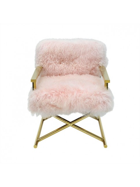 Fur Okal Chair Pink 61cm x 58cm x 80cm
