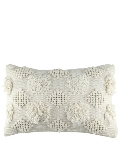 Diamond Cushion Ivory 60cm x 40cm