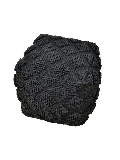 Diamond Square Ottoman Black 48cm x 48cm