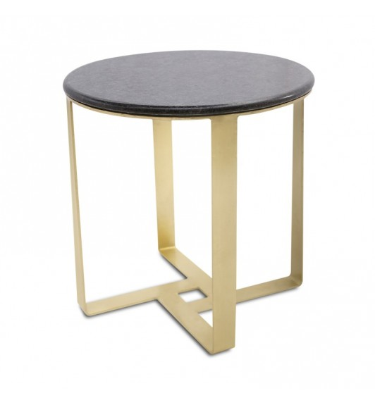 Henry Round Side Table Black & Gold
