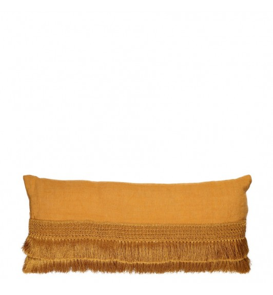 PENELOPE FRINGE CUSHION BLACK 50CM X 30CM