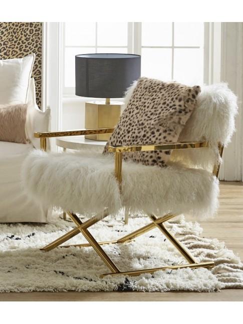 Fur Okal Chair Ivory 61cm x 58cm x 80cm