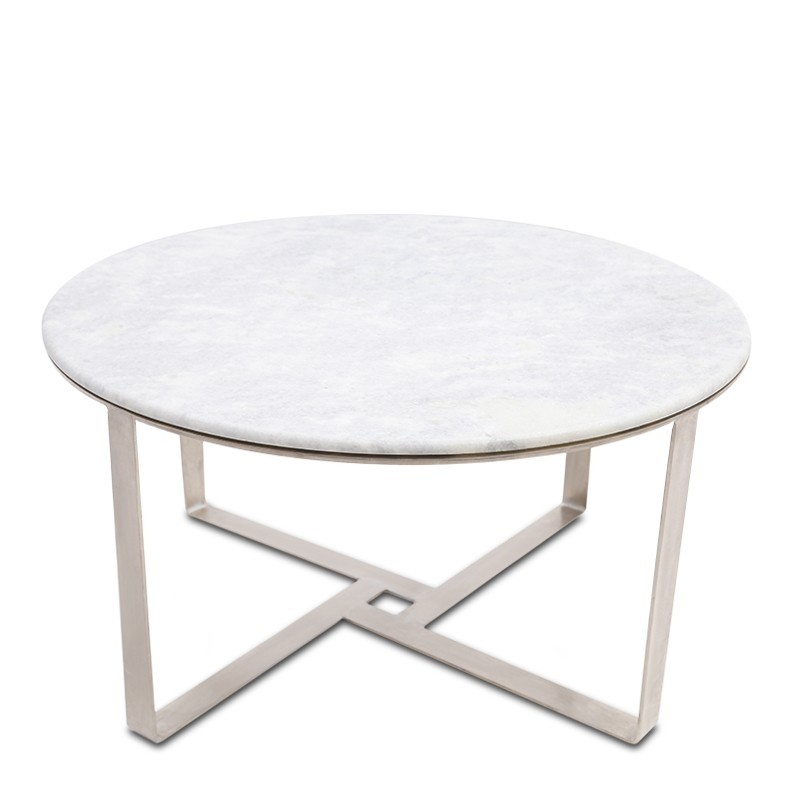 Henry Round Coffee Table Silver White Love That Homewares