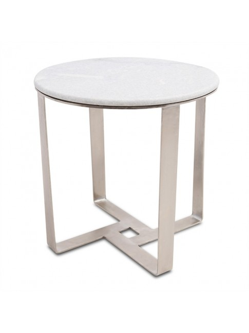 Henry Round Side Table Silver White
