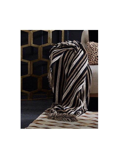 Hand Loomed Niko Throw Black Natural